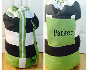 Monogrammed Laundry Duffel Bag, Green, Black and White Stripe, Laundry bag, Laundry Bag for College, Hanging Laundry Bag, Laundry Hamper