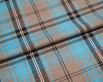 Polyester/Viscose Grey and Turquoise Tartan