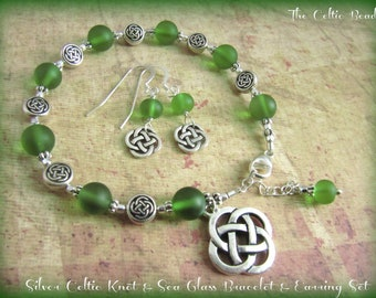 Silver Celtic Knot & Green Sea Glass Bracelet and Matching Earrings