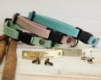 Cat Collar, Dog Collar, Cork Webbing Collar,  Breakaway Collar, Cat Collar Breakaway, Adjustable Collar, Personalized Collar, Kitty Collar