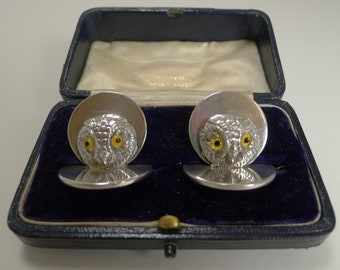 Pair Antique English Sampson Mordan Sterling Silver Menu Holders - Owls