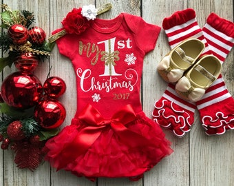 My 1st Christmas Outfit - Baby Girl Christmas Onesie - Baby Christmas Outfit - Santa Baby - Red Ruffle Bottom Bloomers