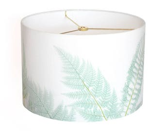 LARGE Linen Sea Glass Fern Lamp Shade - Sea Glass Aqua - Sea Glass Green - 13 14 15 Inch Large Drum Lamp Shade - Custom Made-to-Order