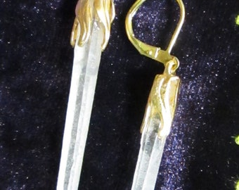 Crystal Dangles with Brass Bead Caps