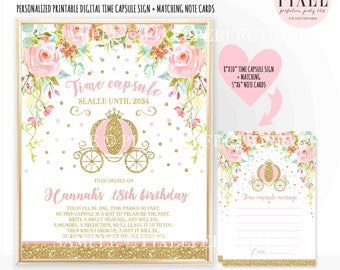 Princess Time Capsule First Birthday + Matching Note Card Princess Carriage Time Capsule Sign Princess Carriage 1st Birthday Party