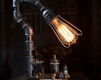 Hand Crafted Industrial Steampunk Table Lamp With Rheostat Feature