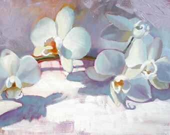 Orchids, Floral Oil Painting on canvas