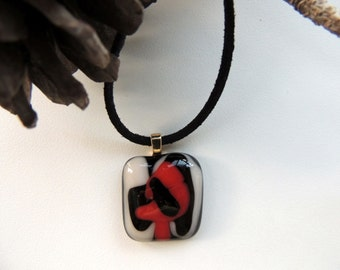 Fused glass necklace,black white red necklace,art fused necklace,Halloween gift,autumn gift