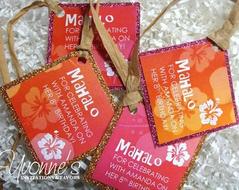 Hawaiian Luau Tropical Favor Tags (Set of 6)-Gift/Thank You Tags for Wine Bottles/Gift Bags-Wedding, Bridal Shower, Birthday Sweet Sixteen