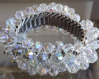 Vintage Expansion Bracelet with Austrian Crystal Aurora Borealis beads