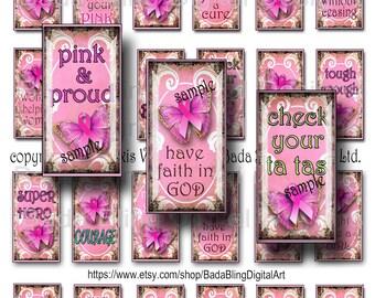 1 x 2  Breast Cancer Awareness, original art digital collage sheets, INSTANT Digital Download at Checkout, Think PINK in October