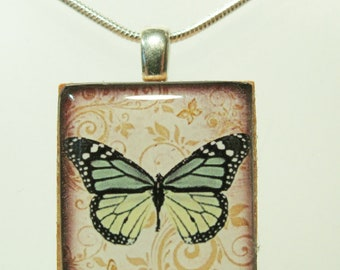 Lime Butterfly Butterfly - Scrabble Tile Pendant - Green Butterfly Necklace on Sterling Silver 925 bail and chain, Nature theme necklace