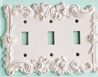 Victorian Antique Vintage Style Rose 3 Toggle Light Switch Cover-Triple Light Switch Cover, Metal Wall Decor Lighting Outlet Cover