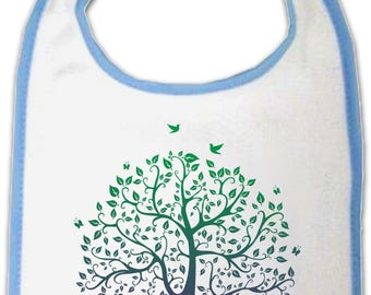 Tree of life baby bib - Zen Nature - blue or pink