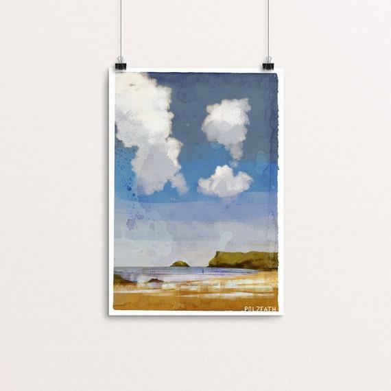 Polzeath - Signed Cornish Coasts Giclee Print