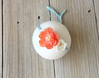 Peach, Ivory, Teal Stretch Newborn Headband for Baby Girl - Ready to Ship