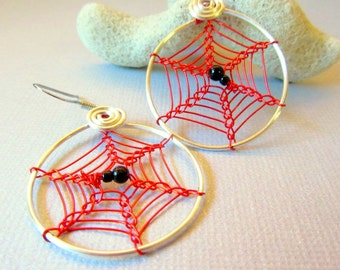 Spider Web Earrings - Red and Silver, Spiderweb Earrings, Red and Silver Cobwebs Earrings, Halloween Hoops, Spider Jewelry, Wire Weave Web