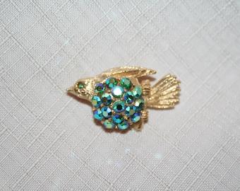 Vintage Coro Bird Brooch with Blue Rhinestones