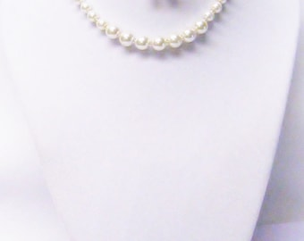 "11.5"" Ivory Glass Pearl Necklace/Bracelet/Earrings for Little Child"