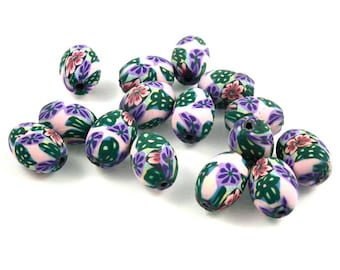 x 30 beads fimo flowers 14mm oval