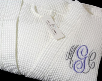 Personalized gift for her birthday Gift for wife Cotton waffle monogram robe perfect anniversary gift jfyBride 707MC