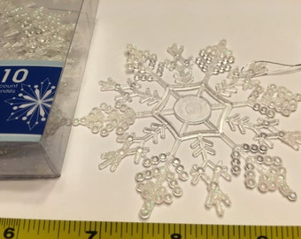 10 large glitter snowflake ornaments, 100 mm (A12)