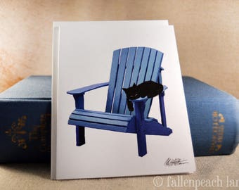 Black Cat on Adirondack Chair - Illustrated Blank Greeting Card with Sammy the Cat