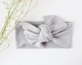 Grey Knot Ribbed Knit Bow hair wrap headband  / chunky knot hair wrap headband /  girls hair bow / kids headband / camel colour / newborn