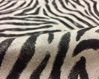 "Zebra Black Stripes Print Designer Linen Cotton Blend Fabric Furnishing Curtain Upholstery Dressmaking Material - 55""/140cm Wide - Zebra"