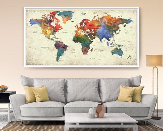 World map push pin world map with countries art print push gumiabroncs Choice Image