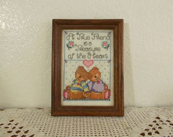 Vintage Framed Cross Stitch A True Friend is a Treasure of the Heart Mid Century Country Farmhouse Shabby Chic Cottage Home Decor Gift Her