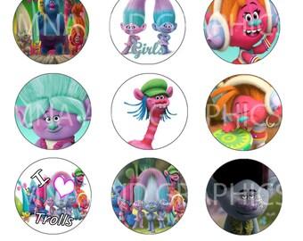 Trolls IMAGES 1 inch round Bottle Cap Images  - Trolls  bottlecap images - round Images -  4x6 inch format