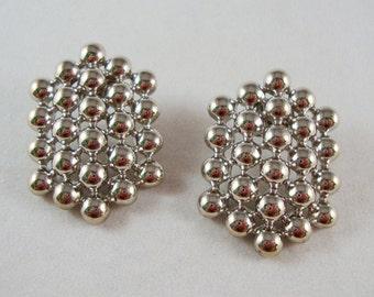 Vintage Silver Tone Textured Post Earrings