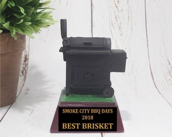 Color BBQ Smoker Resin Award - Smoker/BBQ Contest Trophy - Free Personalization