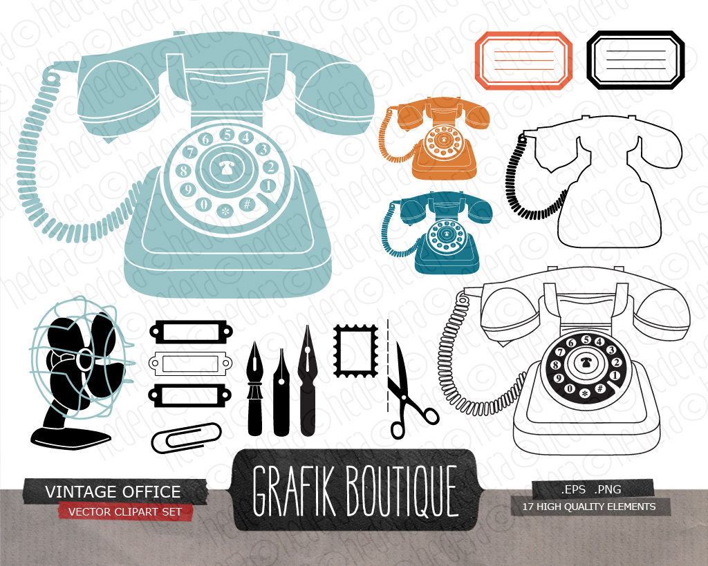 Vintage office digital vector clip art retro phone