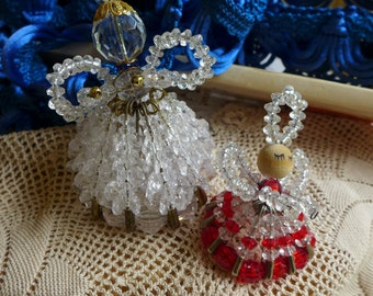 Safety Pin Angels Pair Safety Pin Art Handmade  kitsch Vintage 70s Handcraft Shabby Cottage Clear Crystal Acrylic Bead Craft