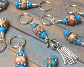 Beaded Stitch Markers for Knitting, Dancing Dress Charm, Snag Free