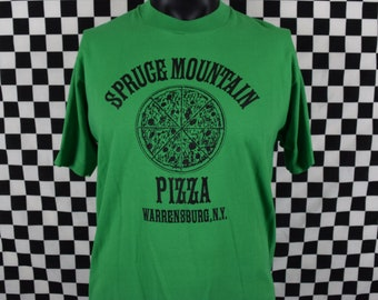 Pizza Tshirt / Vintage Spruce Mountain Pizza Shirt / Green / Screen Stars / Warrensburg NY / XL / Pizza Pie / Souvenir / New York Pizza Vtg