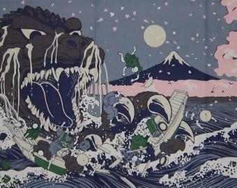 Godzilla Tenugui Kaiju 'Godzilla Emerges From The Waves' Japanese Cotton Fabric Hokusai Gojira Cloth w/Free Insured Shipping