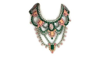 SPRING CACTUS hand painted rhinestone super statement necklace