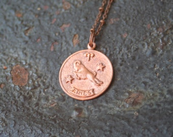 Vintage Copper ARIES Astrological Sign Astrology Ram Charm Necklace