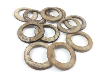 Coconut Beige Ring Link Disks Set of 12 - 38mm - Natural Nut Discs Beads
