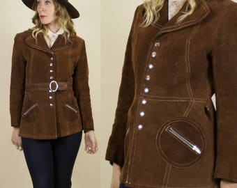 SALE** Vintage 1970s Chocolate Brown Suede, Leather Jacket with Contrast Stitching & Circle Pockets