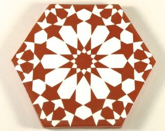 Moroccan Tiles - Terracotta Tiles - Hand Painted Tiles - Kitchen Backsplash Tiles - Ceramic Tiles - Hexagonal Tiles - Moroccan Coasters