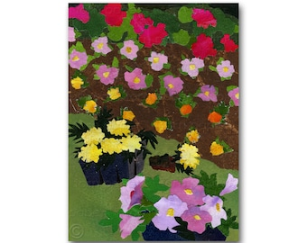 Planting Summer Flowers - Retro Collage Art Card or a Print with a Free Mat - Share the Memories - Gardener's Club Card (CMEM2013045)