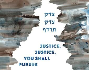 Art Print / Jewish Gift / Bat Mitzvah Gift / Bar Mitzvah Gift:  Justice, Justice you shall pursue