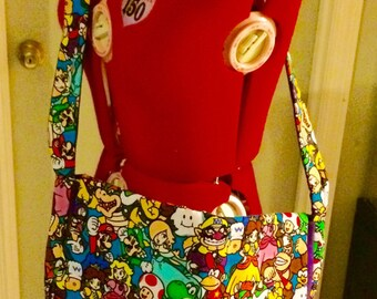 Nintendo characrers messenger bag, padded and reversible