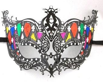Colorful Rainbow Masquerade Mardi Gras Metal Filigree Mask with Crystals