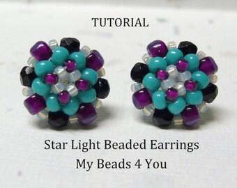 PDF Beading Tutorial, Beaded Earring Tutorial,Seed Bead Tutorial, Beadwork Pattern, Seed Bead Earrings Pattern, Beadwoven Earrings
