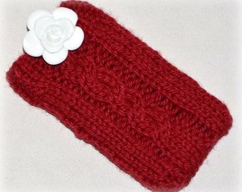 Hand knit iPod cozy, cell phone case in Rich Red with White Rose Button, Wool